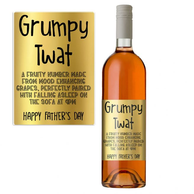 Grumpy Twat Father's Day WIne Bottle Label