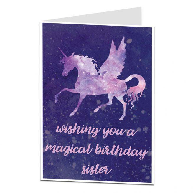 Magical Unicorn Sister Birthday Card