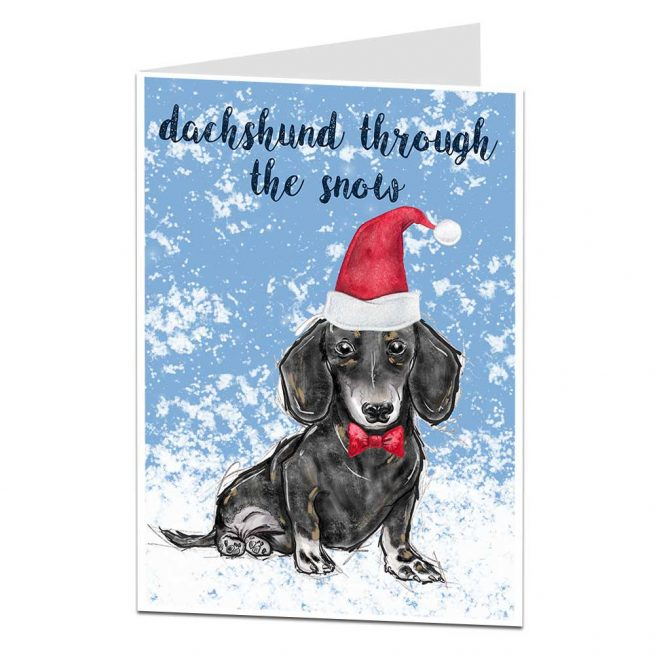Daschund Through The Snow Christmas Card