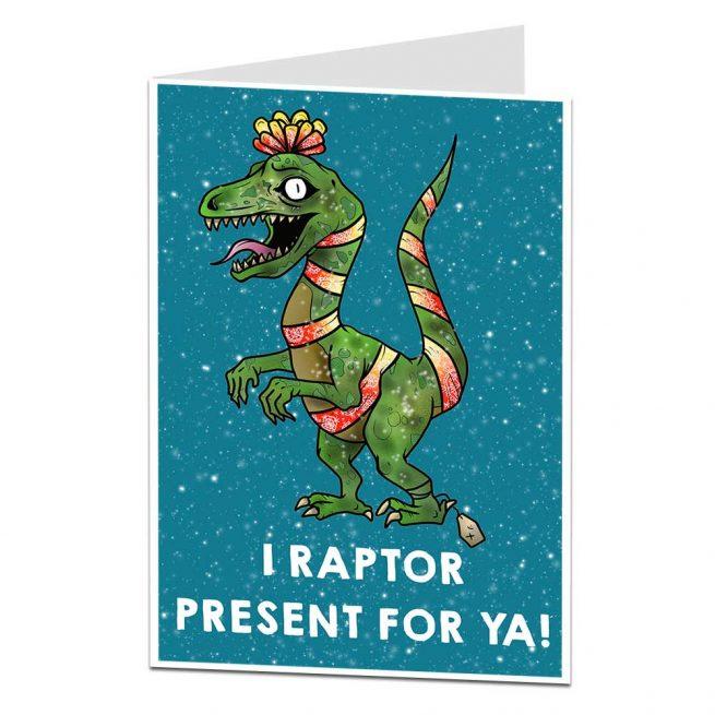 Funny Dinosaur Christmas Card
