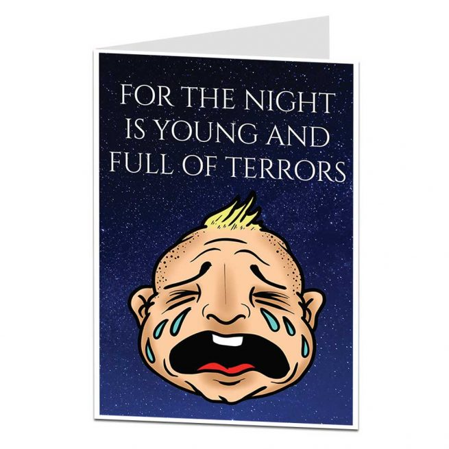 Night Is Full Of Terrors New Baby Card