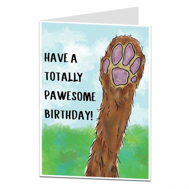 Totally Pawesome Birthday Card From The Dog