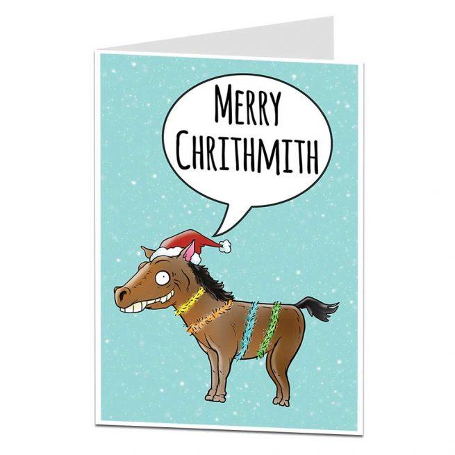Merry Chrithmith Funny Horse Christmas Card