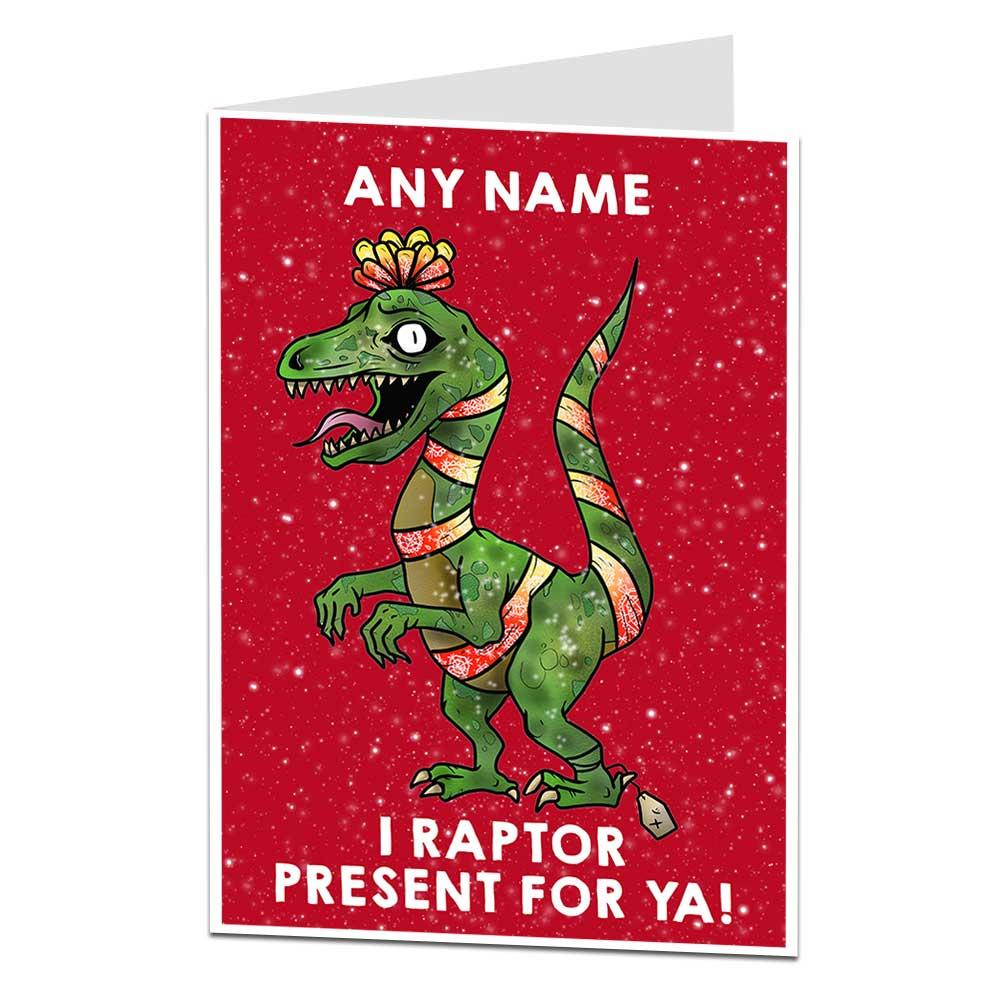 Dinosaur Christmas.Personalised Dinosaur Christmas Card For Kids