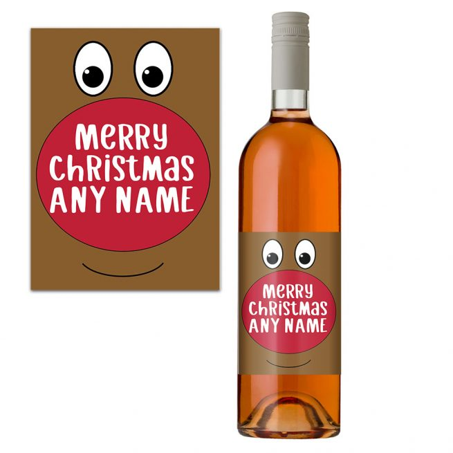 Personalised Rudolph Wine Label