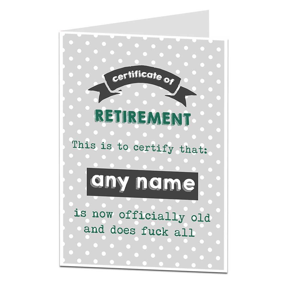Certificate Of Retirement Card