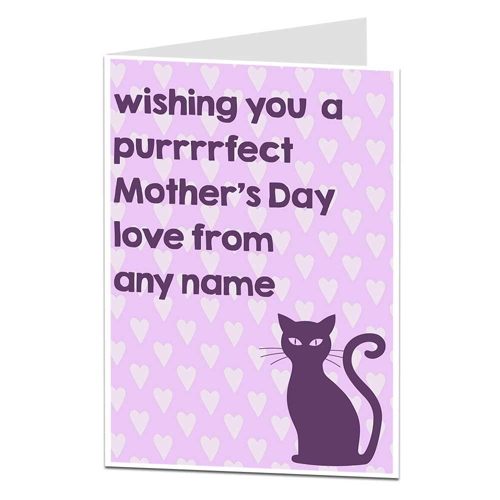 Personalised Mother's Day Card From The Cat