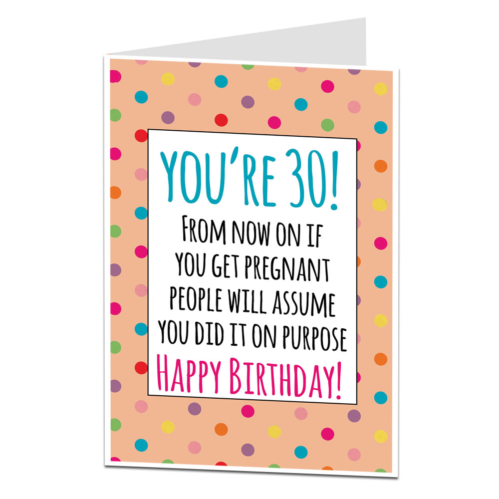 30th Birthday Card For Her Pregnant Joke