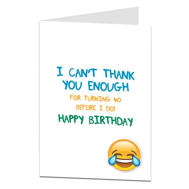 Funny 60th Birthday Card For Older Wife Husband Or Best