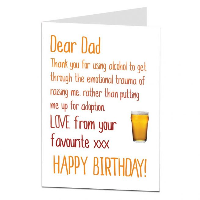 Happy Birthday Dad Card   Alcohol Instead of Adoption