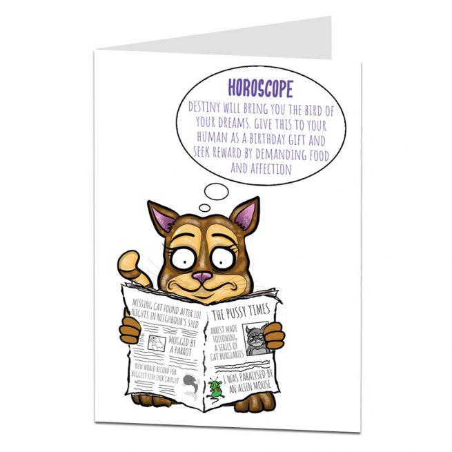 Funny Cat Birthday Horoscope Card