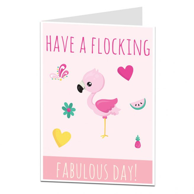 Flocking Fabulous Flamingo Birthday Card