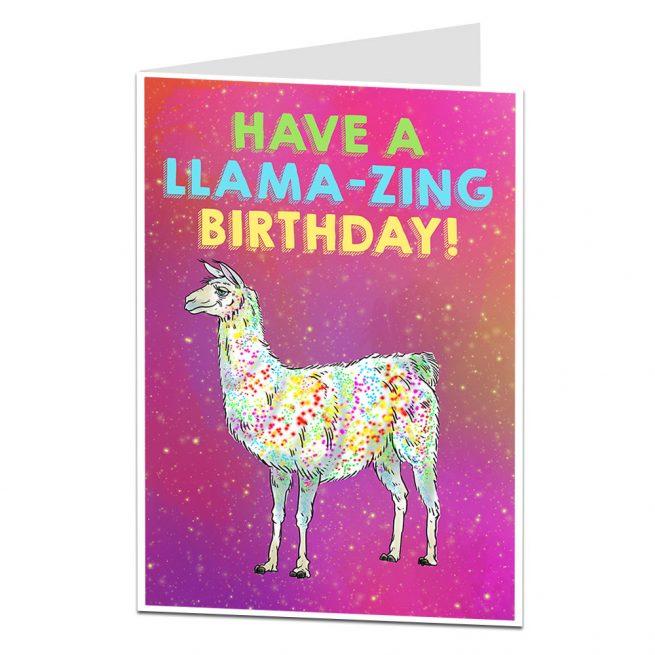 Llama Zing Birthday Card