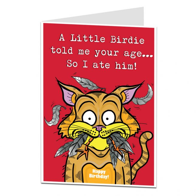 Funny Birthday Card A Little Birdie