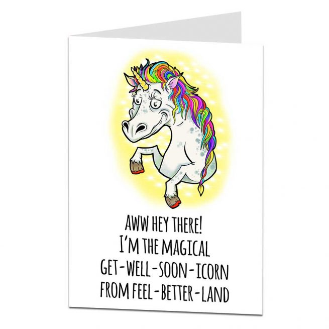 Get Well Soon Card Unicorn Theme Limalima Co Uk