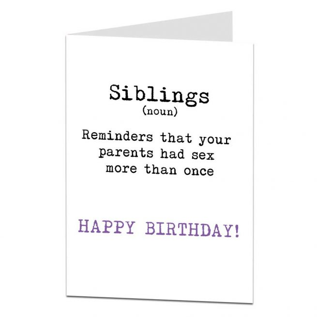 Siblings Greetings Card Funny