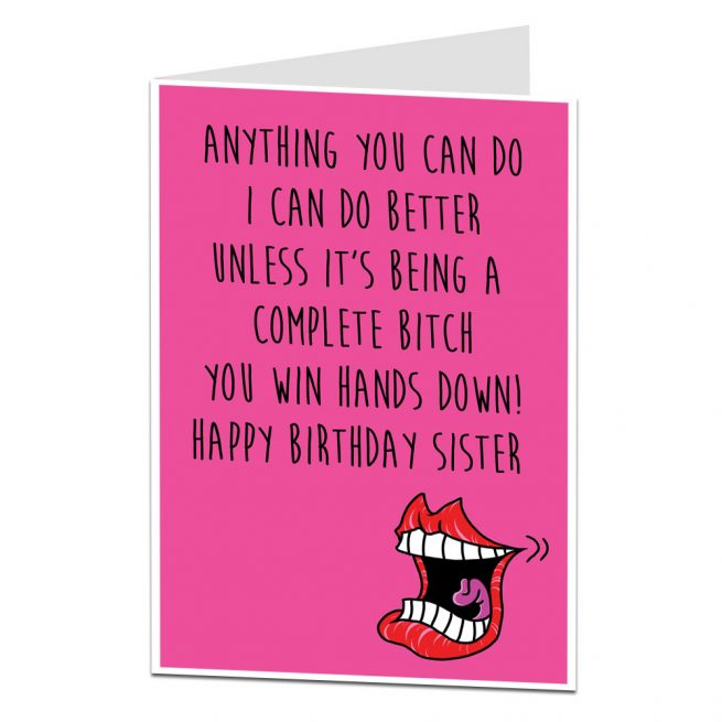 Birthday Card For Sister Complete Bitch