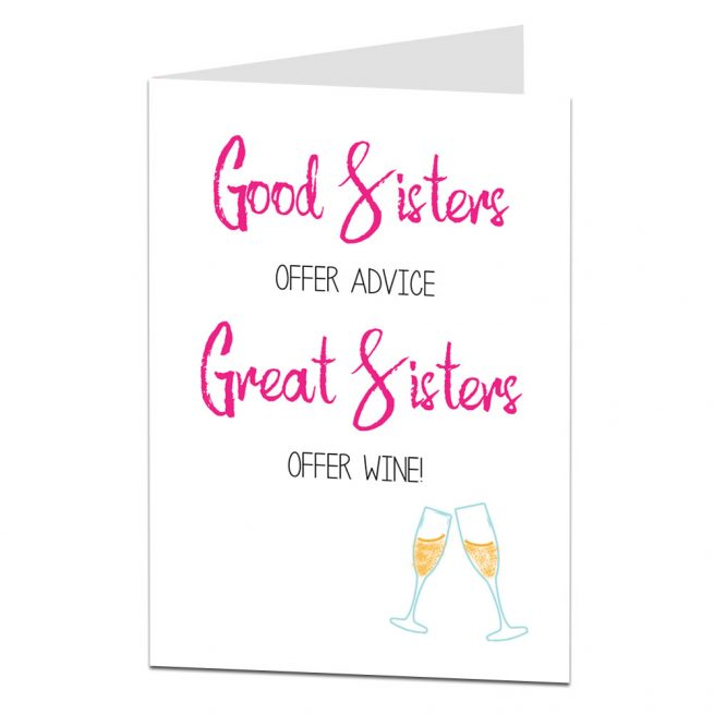 Great Sisters Offer Wine Birthday Card