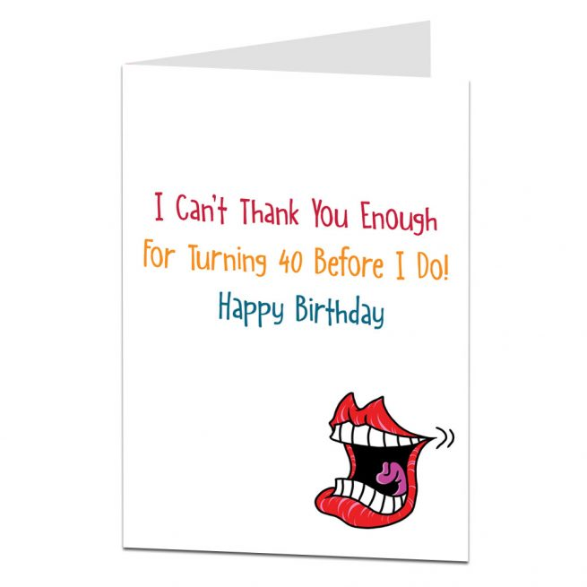 Funny Sarcastic 40th Birthday Card For Men Women
