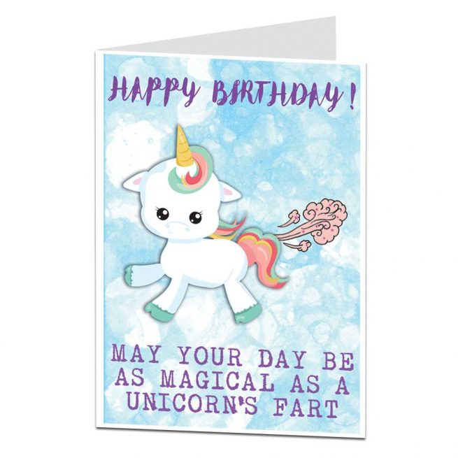 Unicorn Fart Happy Birthday Card