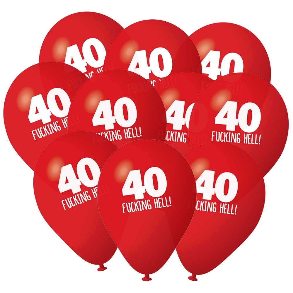 40th Birthday Balloons Pack 10 Red Rude Funny Party Decorations