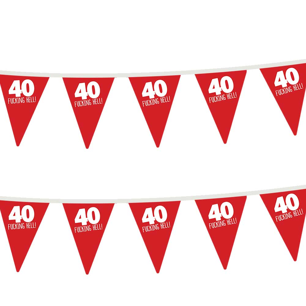 40th Birthday Party Bunting Flags Funny Adult 40 Today Party Decorations for Indoor & Outdoor