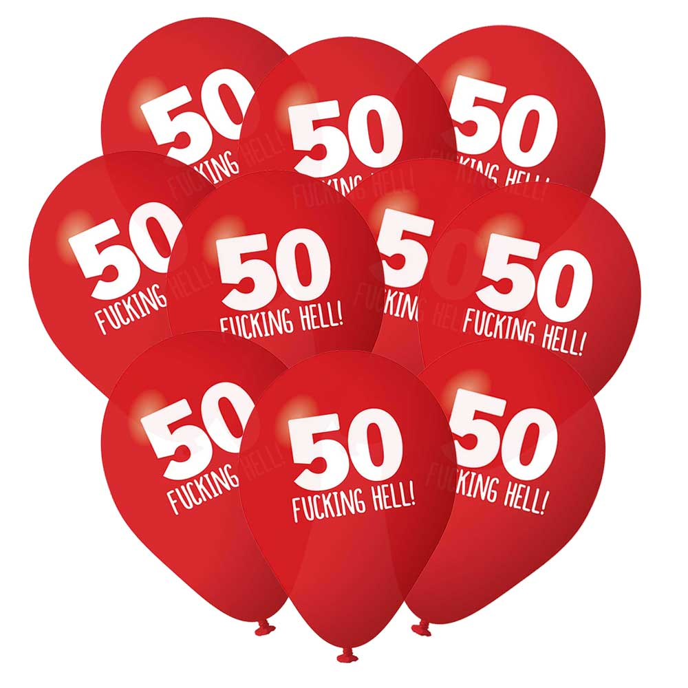 50th Birthday Balloons Pack 10 Red Rude Funny Party Decorations