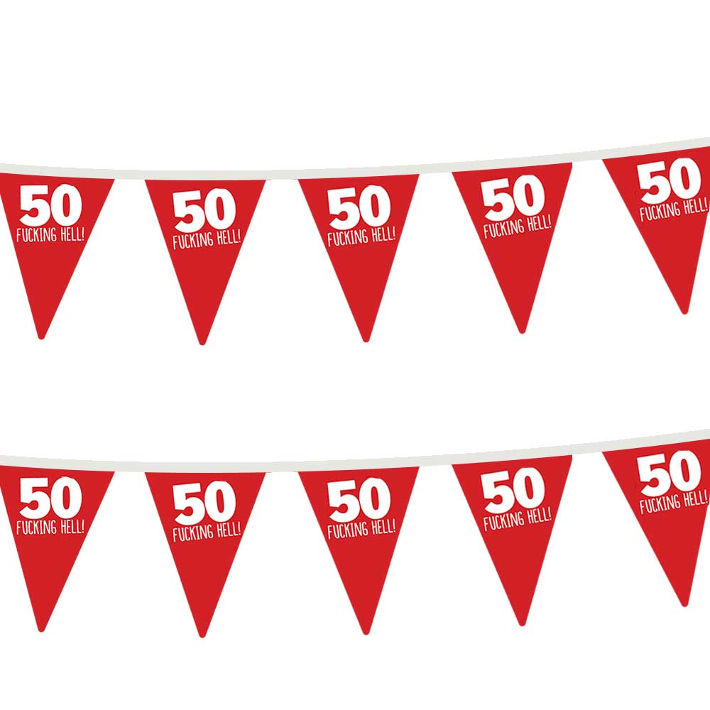 50th Birthday Party Bunting Flags Funny Adult 50 Today Party Decorations for Indoor & Outdoor
