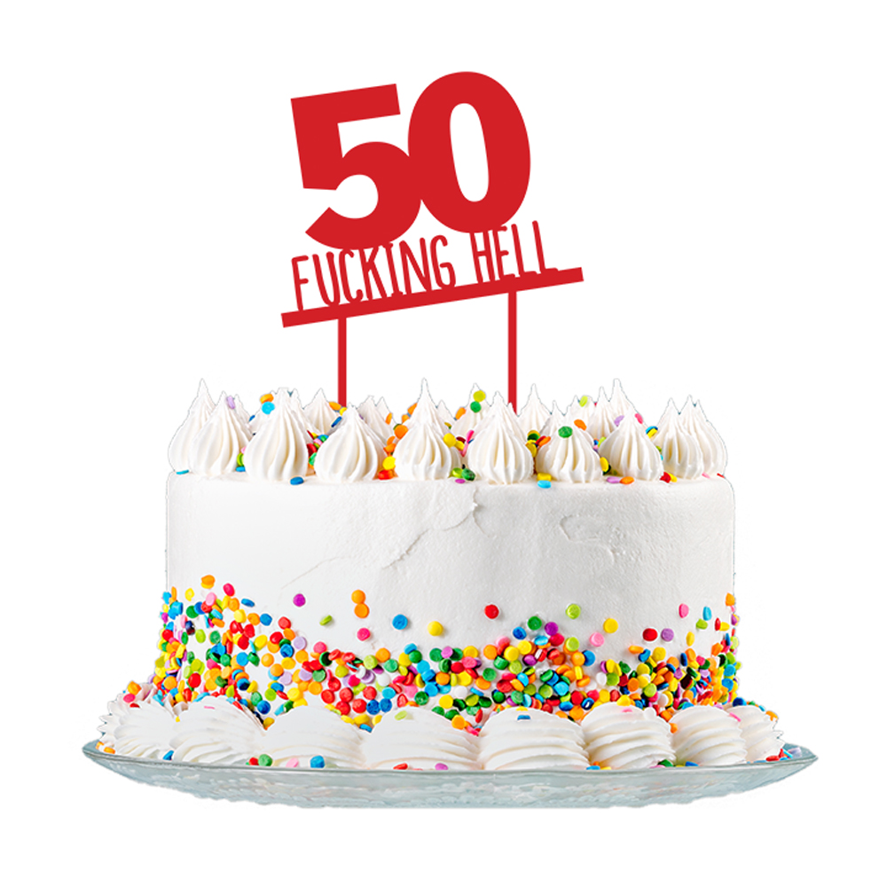 50th Birthday Cake Topper Red Acrylic Rude Funny Party Decorations