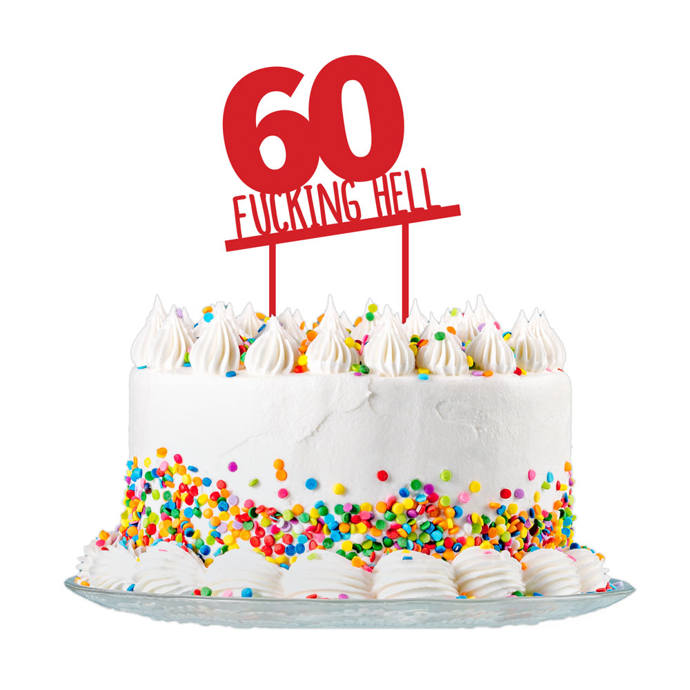 60th Birthday Cake Topper Red Acrylic Rude Funny Party Decorations