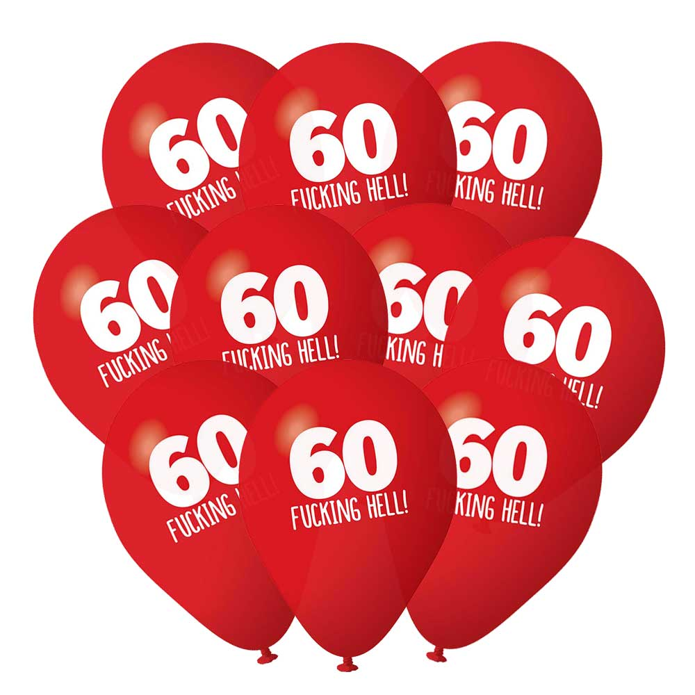 60th Birthday Balloons Pack 10 Red Rude Funny Party Decorations