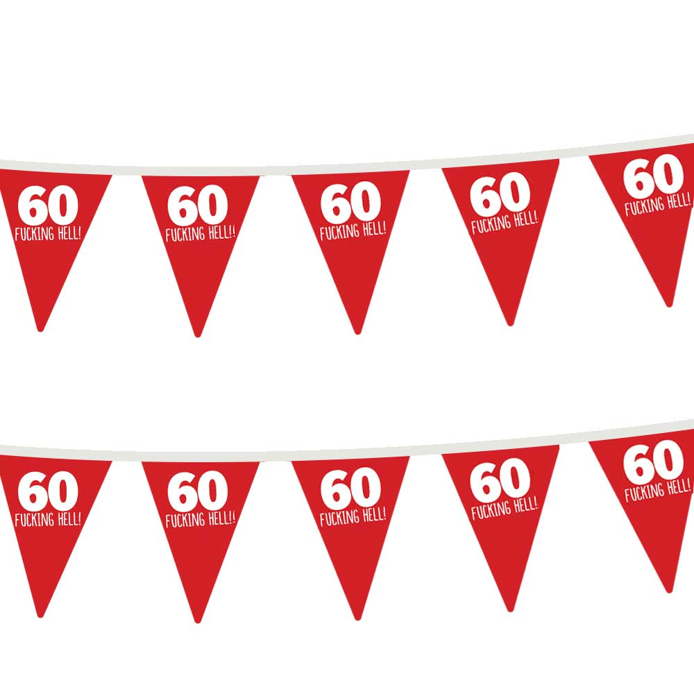 60th Birthday Party Bunting Flags Funny Adult 60 Today Party Decorations for Indoor & Outdoor