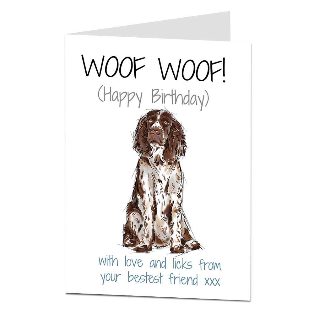Details About Springer Spaniel Birthday Card From The Dog For Owner Lover