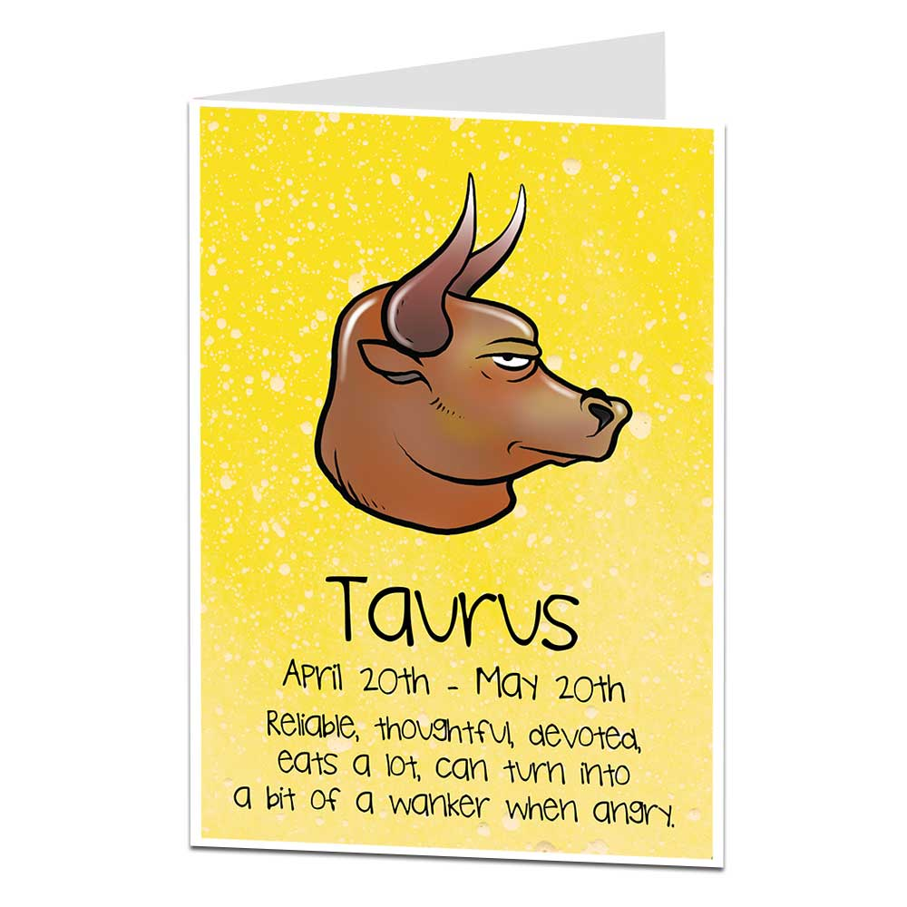 Details about Funny Horoscope Birthday Card Taurus April 20th - May 20th