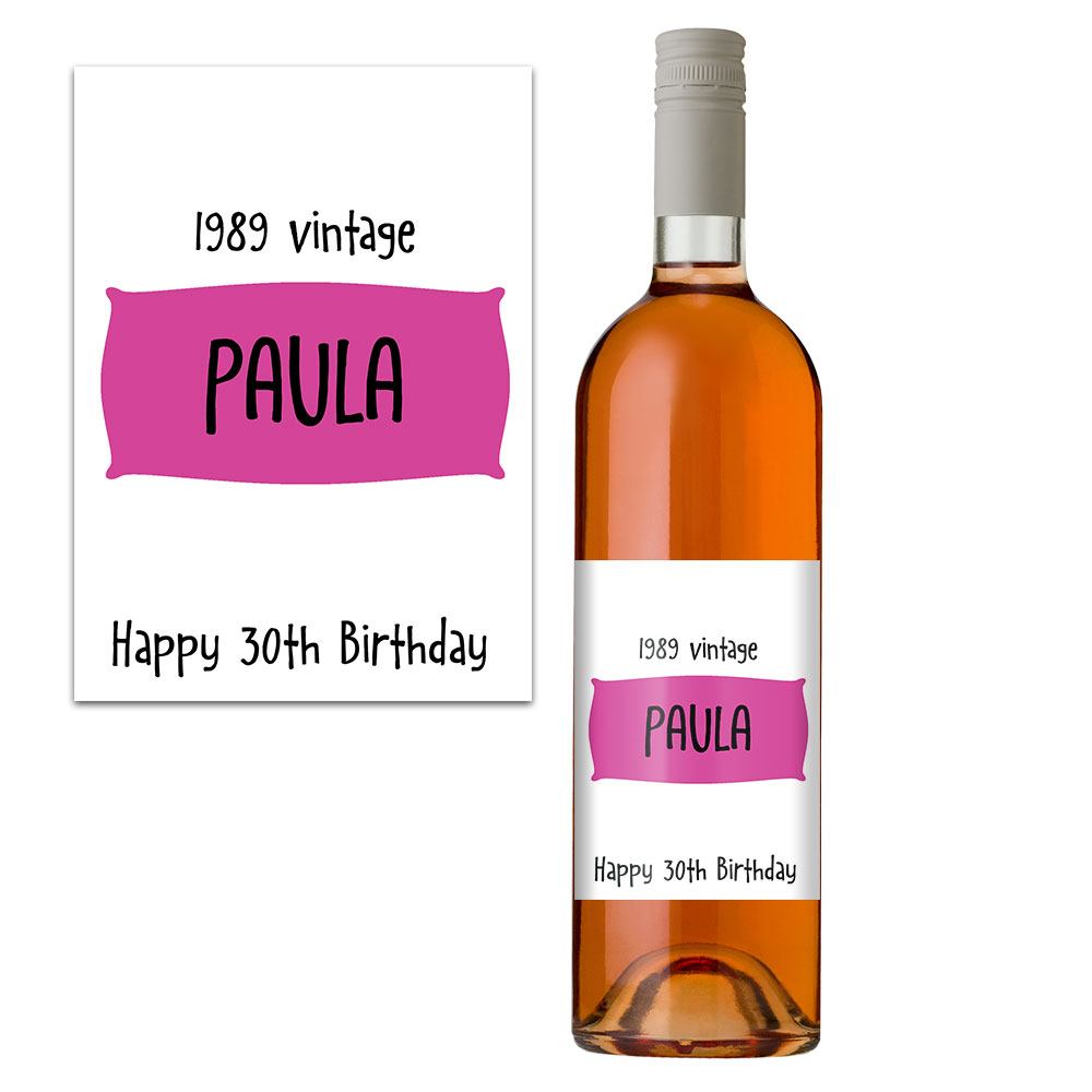 personalised 30th wine bottle label
