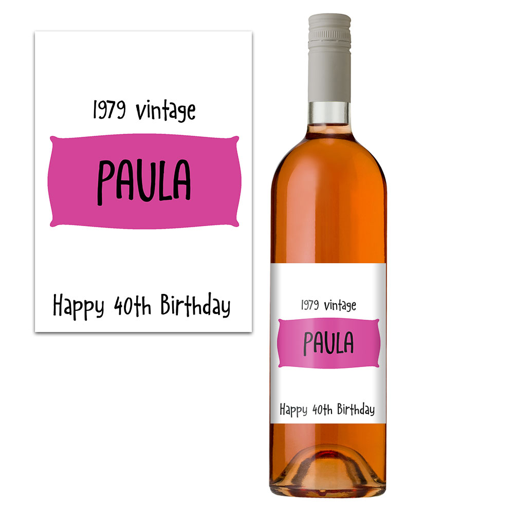 personalised 40th birthday wine bottle label