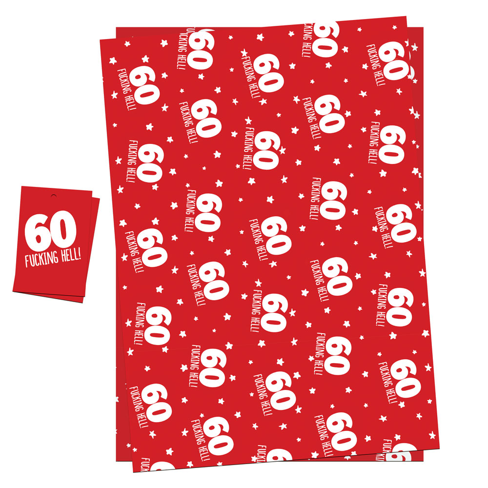 funny 60th birthday wrapping paper