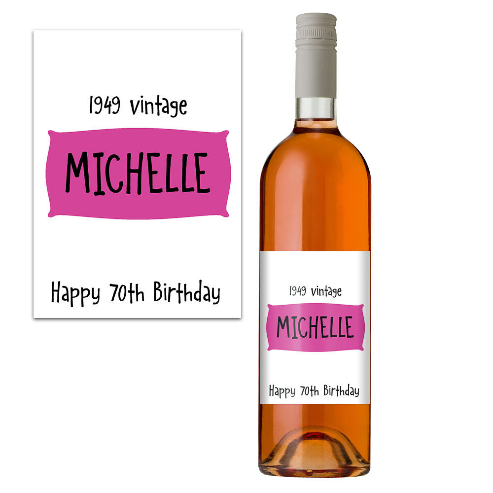 70th birthday personalised wine bottle label