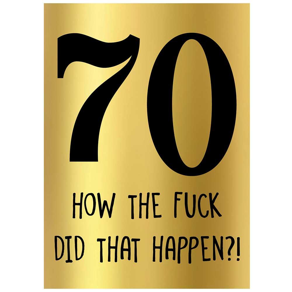 gold 70th birthday wine bottle label