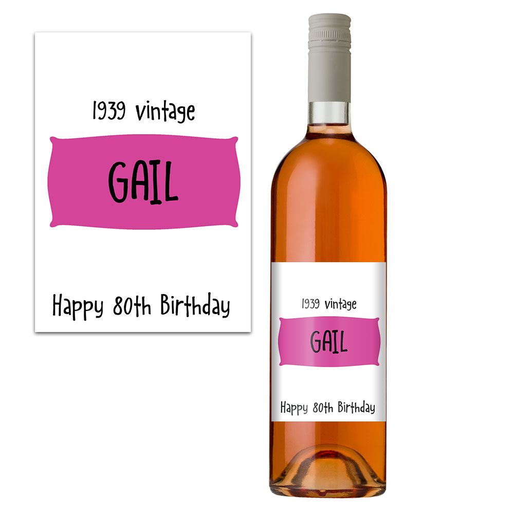 personalised 80th birthday wine bottle label