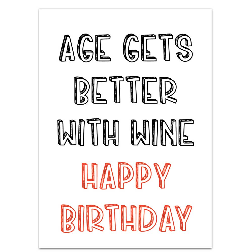 age gets better with wine novelty label