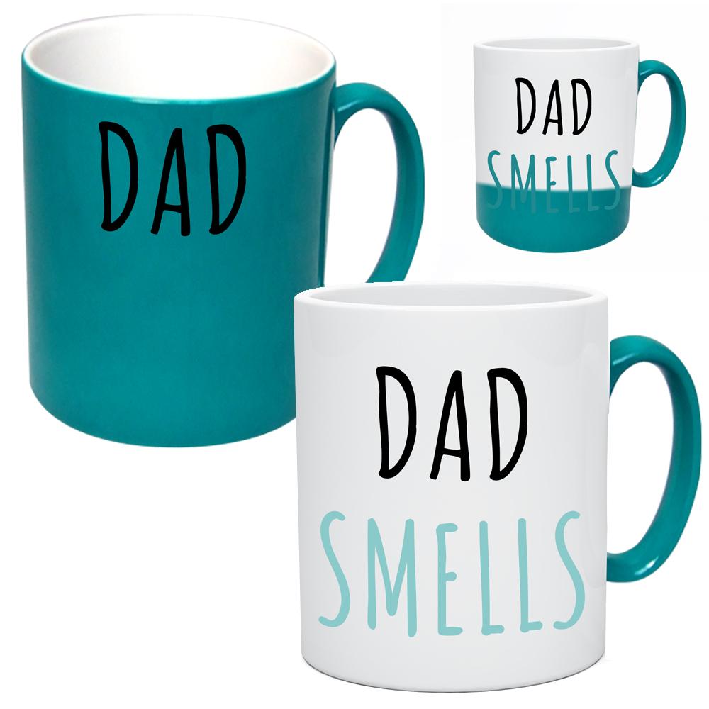 green dad smells colour change mug