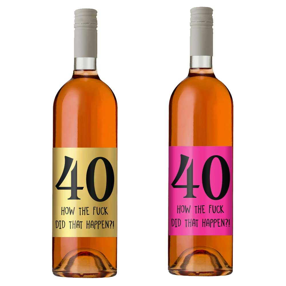 40th birthday wine bottle label