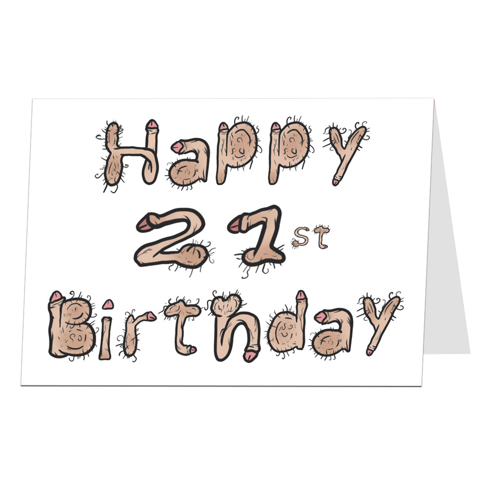 21st Birthday Card Willy Font
