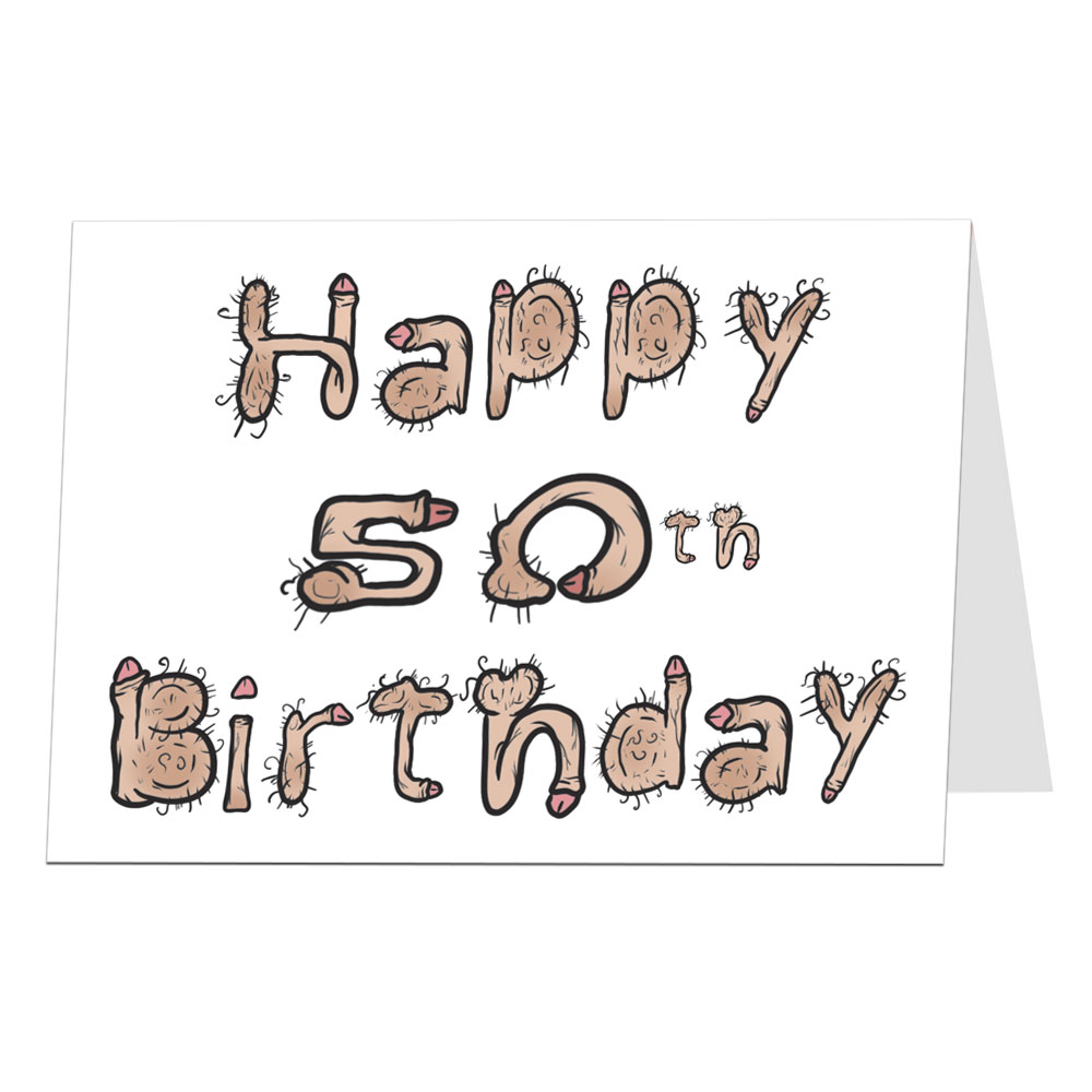50th Birthday Card Willy Font