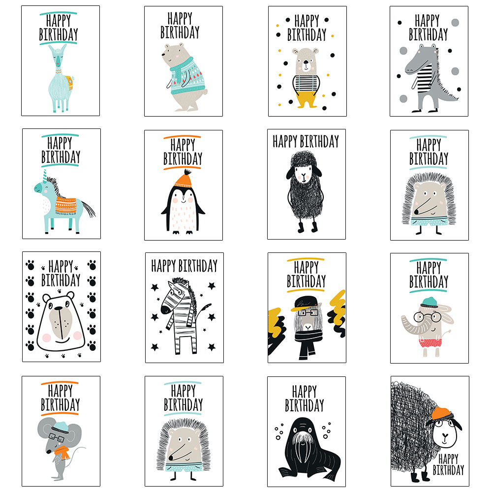 Kids Birthday Card Pack - 16 Card Animal Multipack For Boys Girls