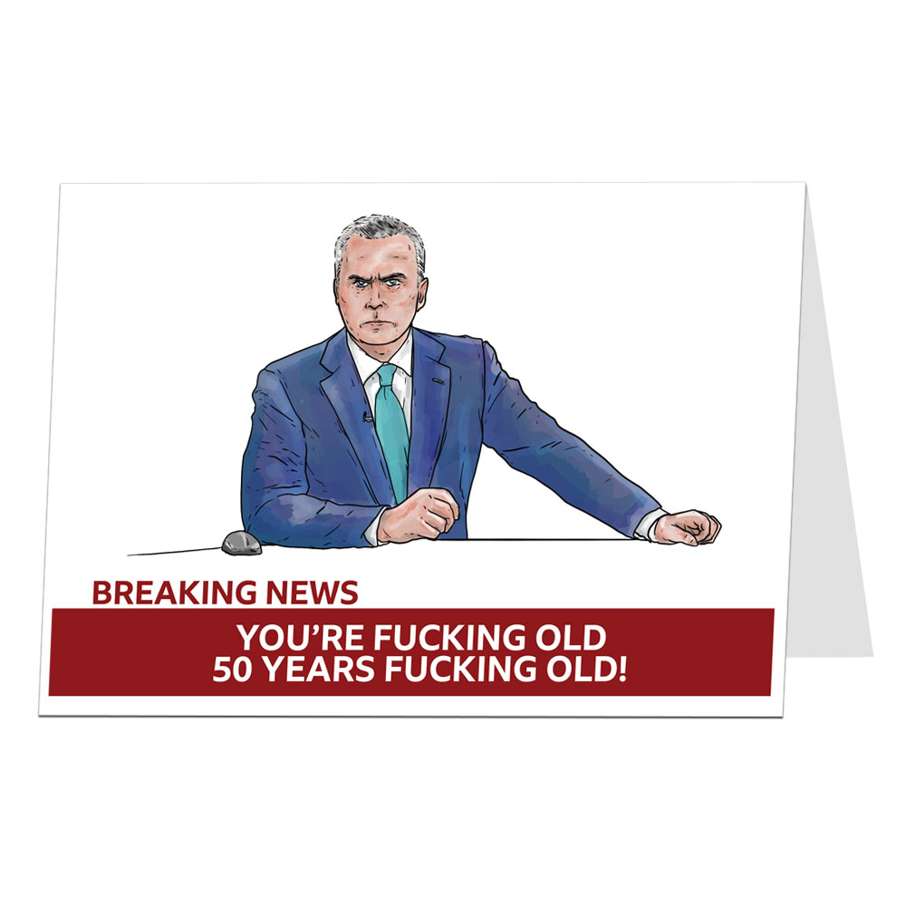 Breaking News 50th Birthday Card