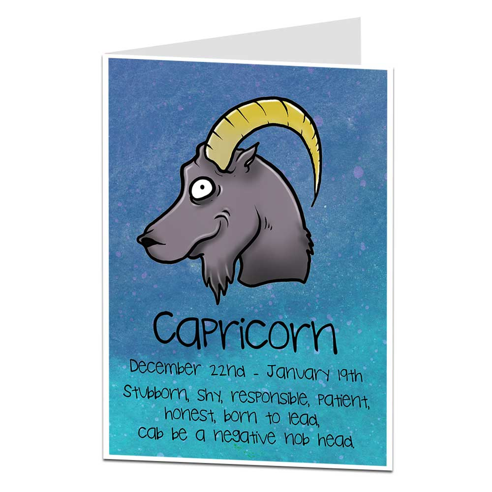 Funny Horoscope Birthday Card Capricorn December 22nd January 19th Ebay