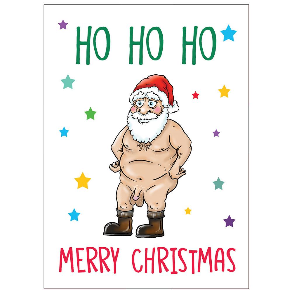 Christmas Wine Label Rude Naked Santa - Secret Santa Gift
