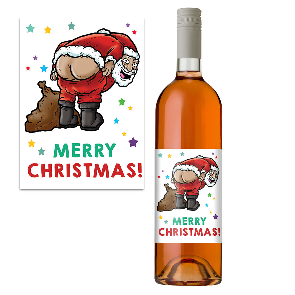 Christmas Gift Wine Label Funny Santa Mooney